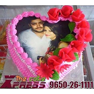 Pink Heart Shape Designer Cake With Red Roses Icing-Delhi NCR