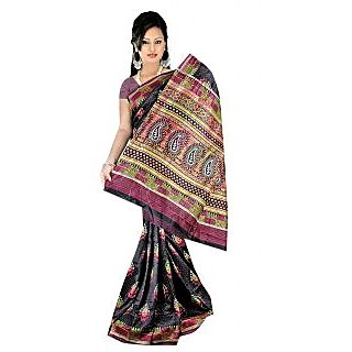 Khushali Women's Printed Multi Color Tussar Silk Unstitched Saree