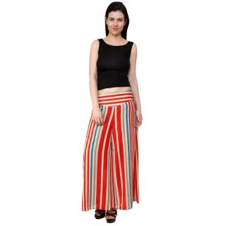 Rumara Stylish Red Georgette Palazoo Pant for Women