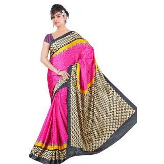 Khushali Women's Printed Crape Multi Color Unstitched Saree