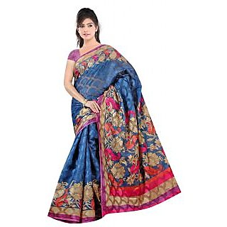 Khushali Women's Printed Multi Color Bhagalpuri Brasoo Saree With Blouse Piece