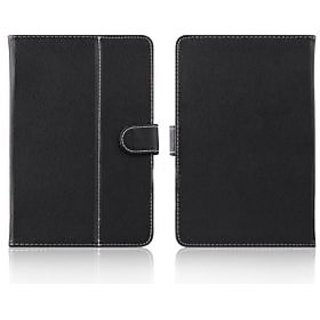 TOS Black Leather Universal 7 inch Tablet Flip Cover for IBall Slide 3G 6095 D20