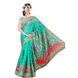 Khushali Women's Printed Multi Color Bhagalpuri Brasoo Unstitched Saree