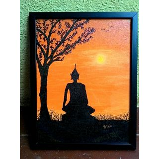 The Inner peace Buddha Painting - Framed Acrylic 14 X 18