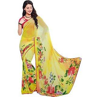 Anushree Red Brocade Self Design Saree With Blouse