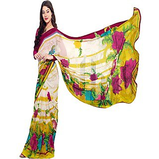 Anushree Multicolor Brocade Self Design Saree With Blouse