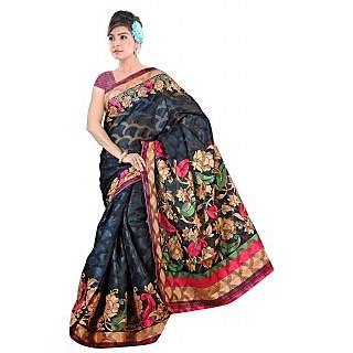Khushali Women's Printed Multi Color Bhagalpuri Brasoo Saree With Blouse Piece