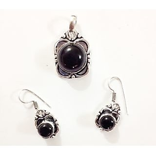 Designer Earrings Pendant Set Silver Plated Black Onyx