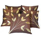 Leaves Patch Cushion Cover Brown(5 Pcs Set)