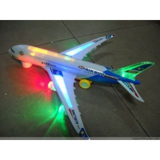 Airbus Plane Battery Operated with Light  Music,Bump  Go,Rotation Toy for Kids