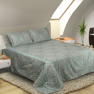 Natraj Ace-01-Seagreen: Double Bed Cover with 2 Pillow Cases