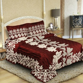 Natraj New_Arc-02-Maroon: Double Bed Cover with 2 Pillow Cases