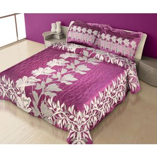 Natraj New_Arc-02-Purple: Double Bed Cover with 2 Pillow Cases