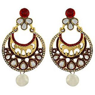 Asmara Splendid Kundan Earrings With Pearl Drop