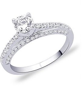 Peora Sterling Silver Prong Set Shank Cz Engagement Ring PR2004