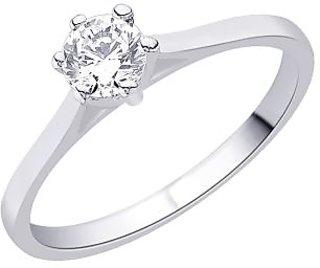 Peora 92.5 Cz Sterling Silver Ring With Rhodium-Plating (PR3008)