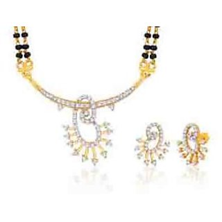 Peora 18 Karat Gold And Rhodium Plated Mangalsutra Set With Swiss Cubic Zirconia