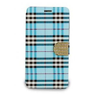 Then&There Check Print Flip With Rhinestone Clip (Blue) For Samsung Galaxy Note 4