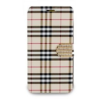 Then&There Check Print Flip With Rhinestone Clip (Creme) For Samsung Galaxy Note 4