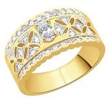 Peora 18 Karat Gold Plated Ring With Swiss Cubic Zirconia (Design 5)