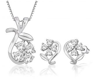 Peora Sterling Silver Pendant Earrings Set PS1304