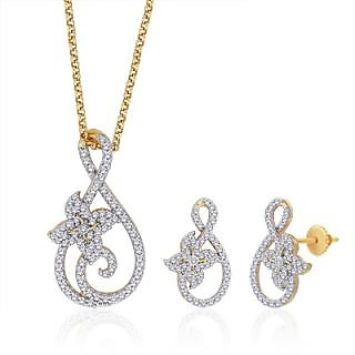 Peora 18 Karat Gold And Rhodium Plated Pendant Set With Swiss Cubic Zirconia + Free Chain (Design 2)