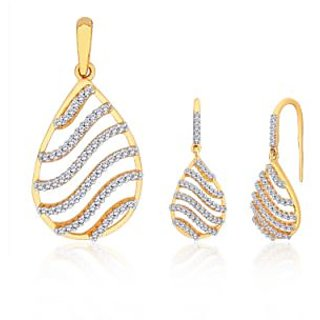 Peora Sparkling Waves Gold And Rhodium Plated Pendant Set With Micro Pave Setting