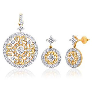 Peora Gold And Rhodium Plated Pendant Set With Micro Pave Setting (Design 2)