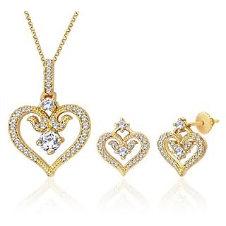 Peora 18 Karat Gold And Rhodium Plated Pendant Set With Swiss Cubic Zirconia + Free Chain (Design 4)