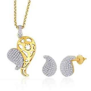 Peora 18 Karat Gold And Rhodium Plated Pendant Set With Swiss Cubic Zirconia + Free Chain (Design 3)