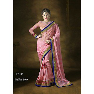 New Arrival Light Pink Embroidered Saree
