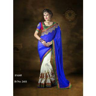 Designer Blue And White Embroidered Georgette Saree