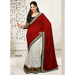 Design Buy Red And White Two Tone Heavy Saree
