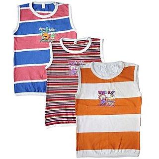 RKG Multicolour Cotton Blend Boys Sleevless Tshirt (Pack of 3)