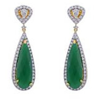 Hyderabad Jewels Green And White Cz Stone Studded Hanging Earrings