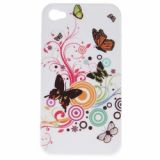 Exquisite Butterfly And Flowers Pattern Hard Plastic Cover Case For Iphone 4 4s (white)