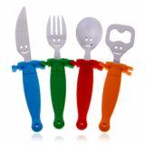 Novel Stainless Steel Dinnerware Fork Spoon Knife Bottle Opener With Hand In Hand Plastic Handle
