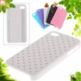 Luxury Design Imitation Diamonds Protective Pu Plastic Back Case For Iphone 4 4s (white)