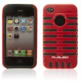 Smart Double-layers And Microphone Design Protective Case For Iphone 4 4s (red)