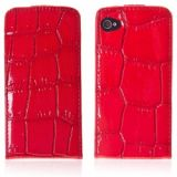 Vertical Magnet Flap Durable Costly Cowhide Series Case For Iphone 4/4s - Red