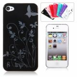 Flowers And Butterfly High Grade Plastic Protective Case For Iphone 4/4s