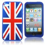 Blue Frame Union Jack Pattern Silicon Cover Case For Iphone 4g