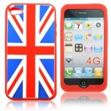 Red Frame Union Jack Pattern Silicon Cover Case For Iphone 4g