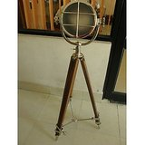 ANTIQUE FLOOR HOME DECOR SEA SPORT SEARCH LIGHT WITH TRIPOD BROWN WOOD