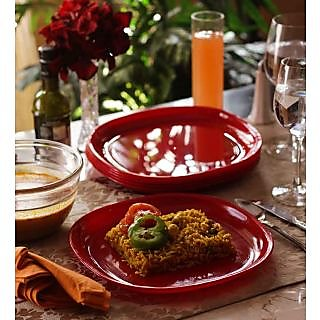 Dinner Plates - Incrizma Square 6 Pc Dinner Plates - RED
