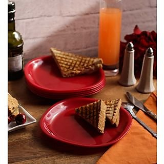 Dinner Plates - Incrizma Square 6 Pc Quarter Plates - RED