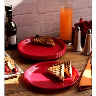 Dinner Plates - Incrizma Round 6 Pc Quarter Plates - RED