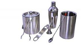 Stainless Steel 7 pcs Bar set (Medium) - Cocktail shaker, Ice bucket, Peg Measure, Ice Tong, Wine cooler, bar spoon, Bottle Opener