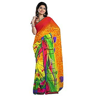 Firstloot Attractive Multi Colored Floral Printed Faux Georgette Saree