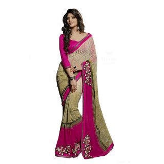 Firstloot Glorious Beige Colored Printed Faux Georgette Saree